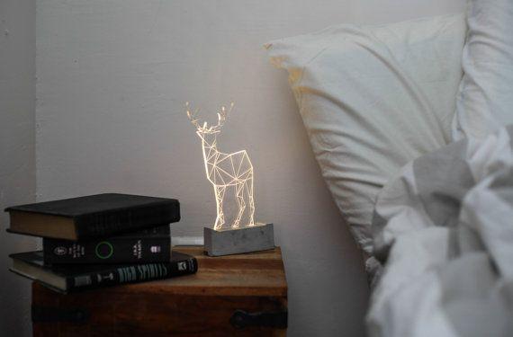 Bedside deer lamp / LED Deer nightlight / Concrete fawn lamp / animal decorative lamp / stag lamp