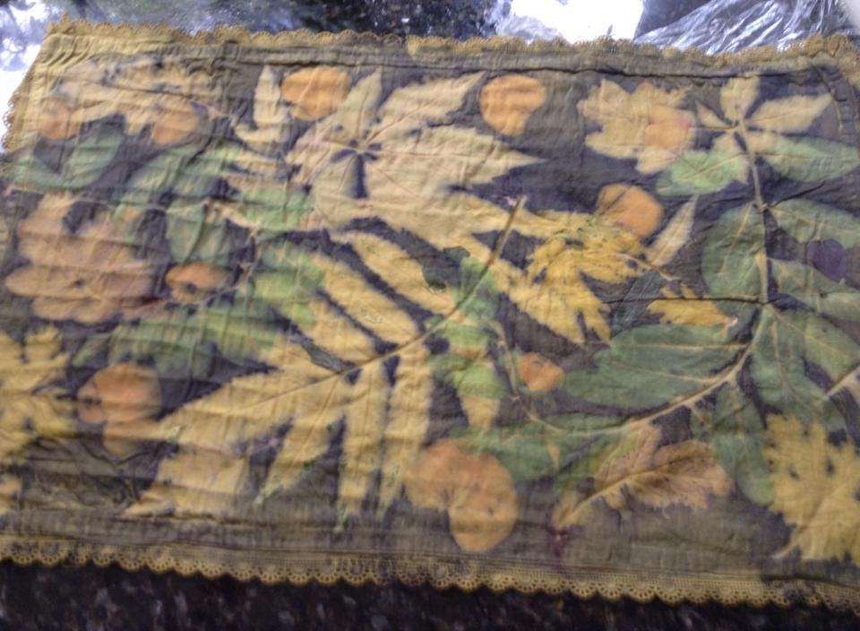 cotton vintage pillow case, triple mordanted, soya, tannine, aluminium acetate, dipped in calcium carbonate, dyed with weld... And finally leaf printed https://www.facebook.com/photo.php?fbid=10156031559600046