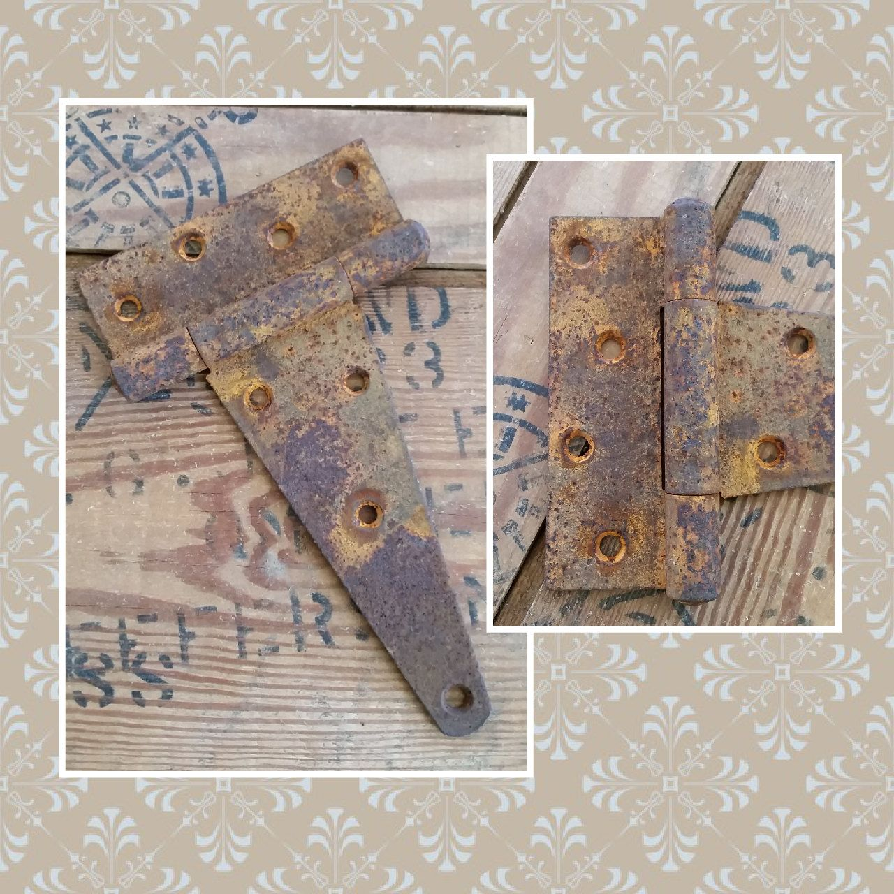 Large Vintage Rustic Rusty Metal Industrial Salvaged Furniture Hinge Or Cabinet  Hinge. Hardware, Restoration Hardware, Salvage Hardware By LoveTheJunk On  ...