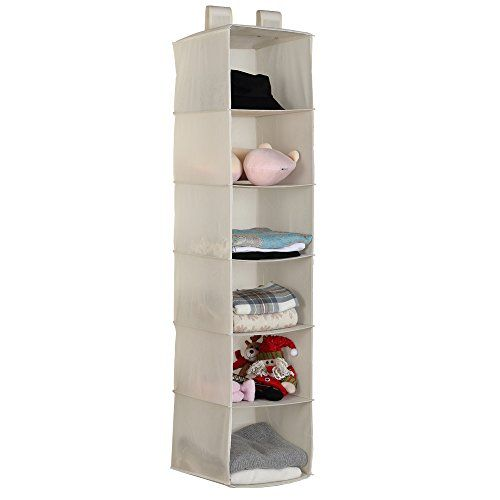 Hanging Closet Organizer   Housen Solutions Clothes Storage Shelves,  6 Shelf Collapsible Accessory Hanging Shelves, Beige   Package Includes: 1  Collapsible ...
