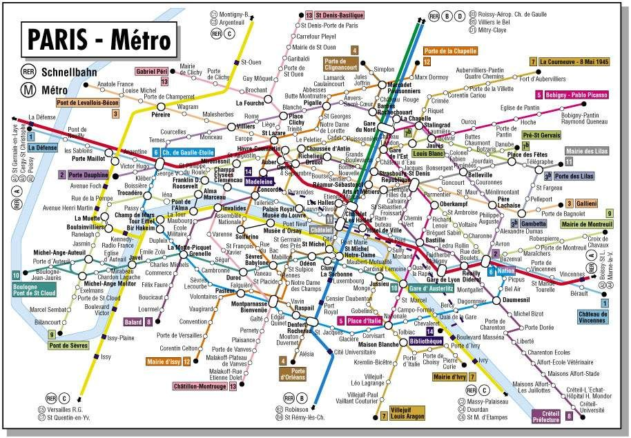 Mapofparisfrancemetro 914�635 Travel Pinterest France: Train Map Of Paris At Infoasik.co