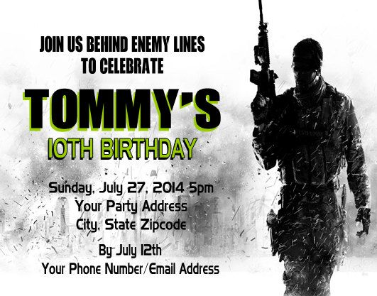 Call of Duty COD Birthday Party Invitation call of duty party