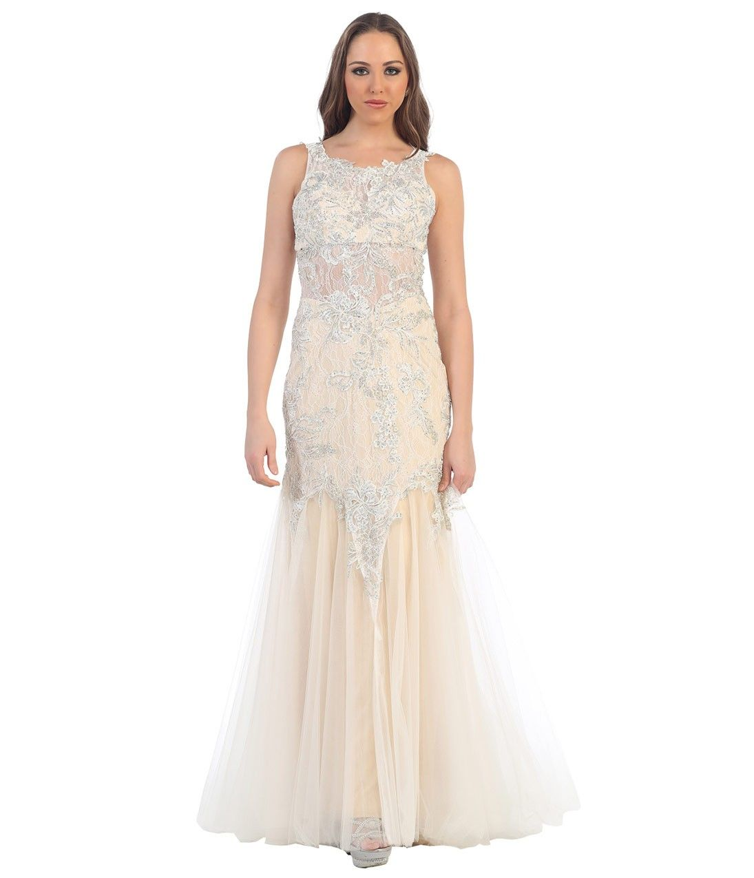 Ivory sheer mermaid lace dress for homecoming lace dress