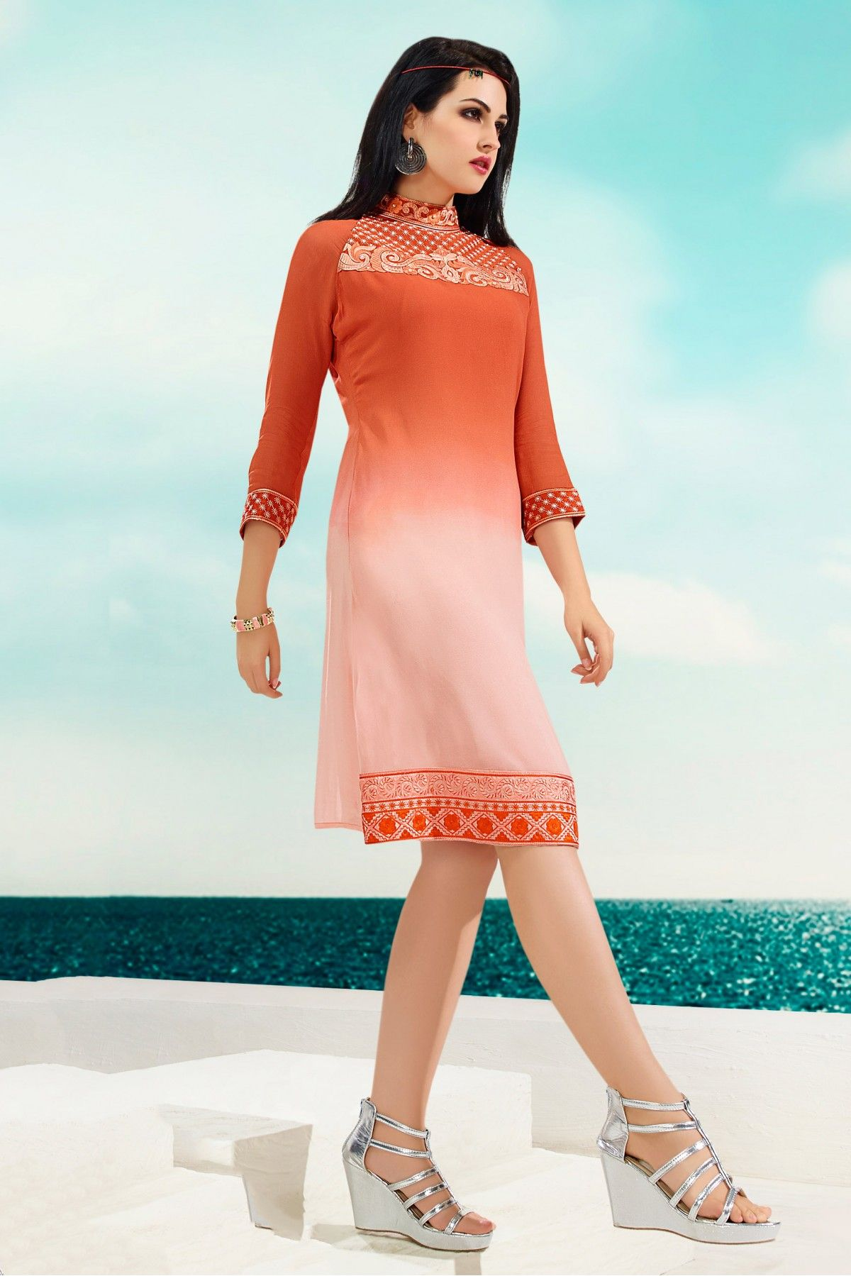 a7c93f9f17 Georgette Party Wear Kurti in Orange and Pink Colour.It is crafted with Embroidery  Design.