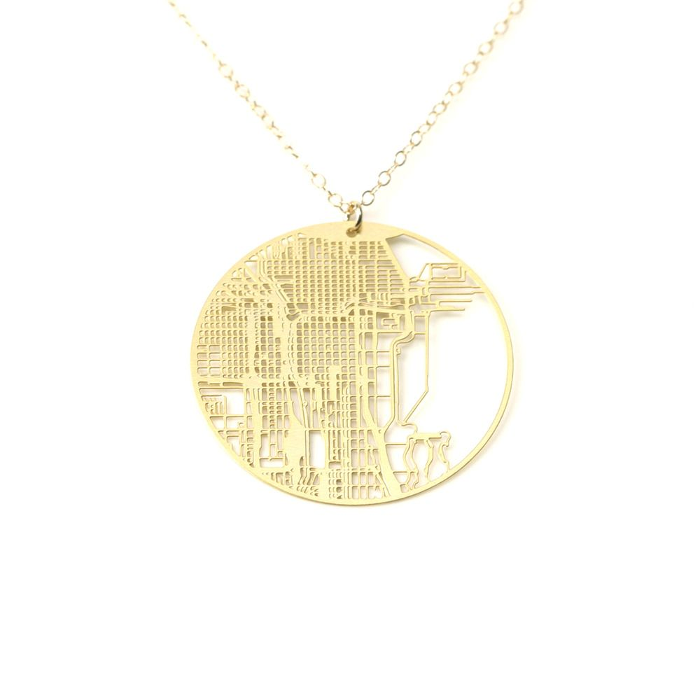 I Absolutely Love This Image Of Urban Gridded EarringsNecklace - Chicago map necklace