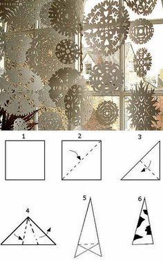 schneeflocken aus papier ausschneiden anleitung deko handmade pinterest weihnachten. Black Bedroom Furniture Sets. Home Design Ideas