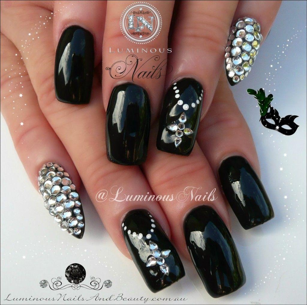 Luminous Black Nail Design