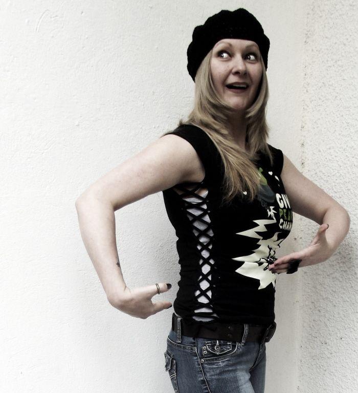 The Laced-Up No Sew T-shirt Refashion Upsize by Sheri Pavlovic