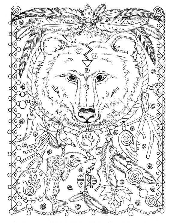 5 Pages Instant Download Animal Spirits To Color Wolf Raven Etsy Animal Coloring Pages Bear Coloring Pages Wolf Colors