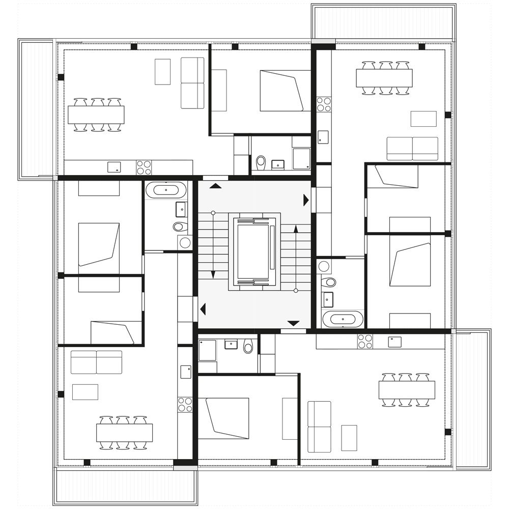 Floorplan 2nd 4th And 6th Storey C Zanderroth Architekten Residential Building Plan Co Housing Architectural Floor Plans