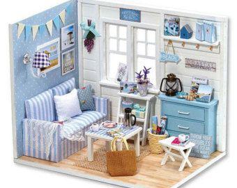 Mobili Per Casa Delle Bambole Fai Da Te : Kitten diary dollhouse diy kit cute room house model with light and