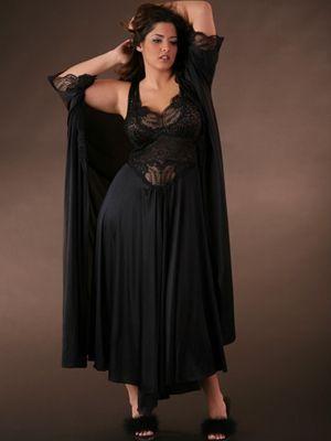 $56 Plus Size Lingerie | Plus Size Robes | Long Lace Trim Robe ...