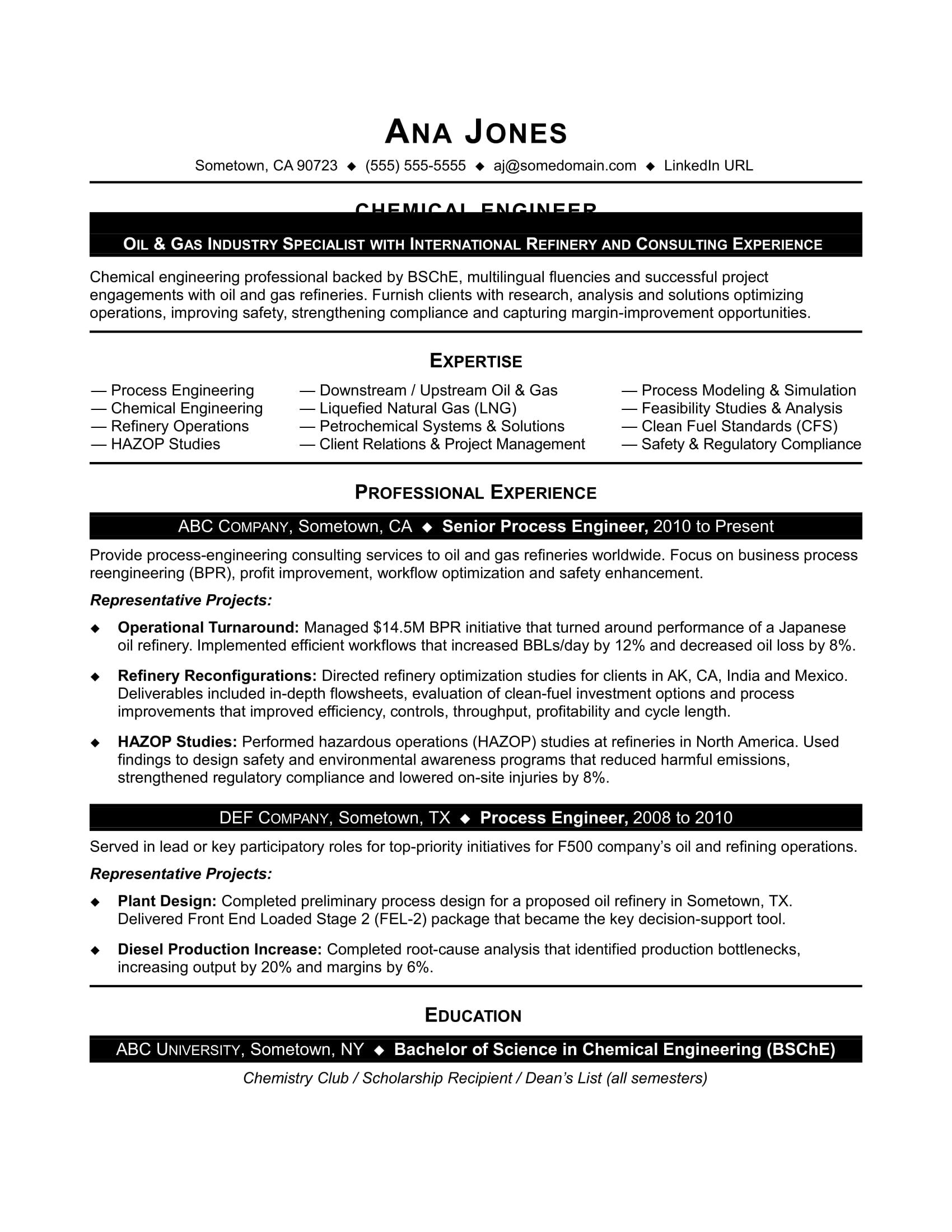 Chemical Engineer Resume Resume For Entry Level Chemical Engineer
