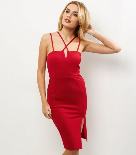 8ebfbae04ae Red Strappy Split Side Bodycon Dress
