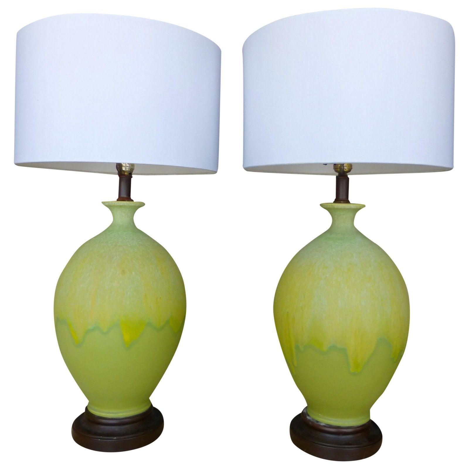 Yellow Lime Green Midcentury Ceramic Lamps Pair For Sale Green Table Lamp Lamp Ceramic Lamp