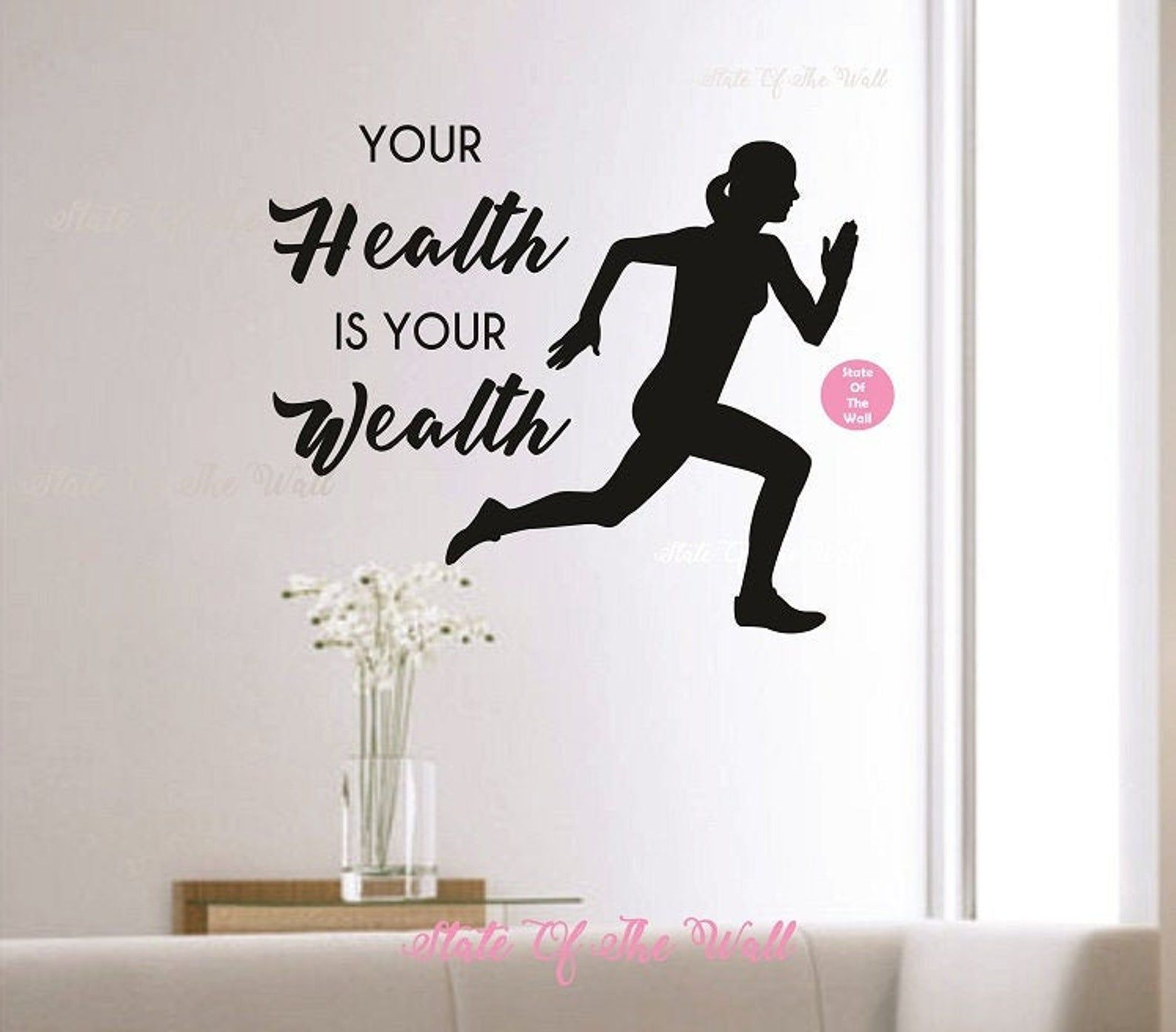 Your HEALTH is your WEALTH Vinyl Wall Decal Sticker Art