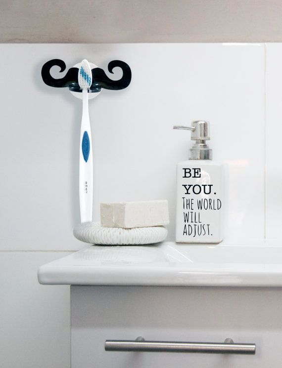 Mustache Bathroom Toothbrush Holder Decor Home Gift For Him Kids Boy