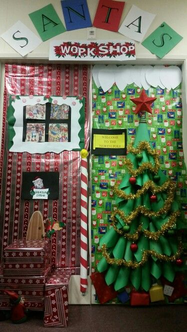 Office door decorating contest! Santa's workshop