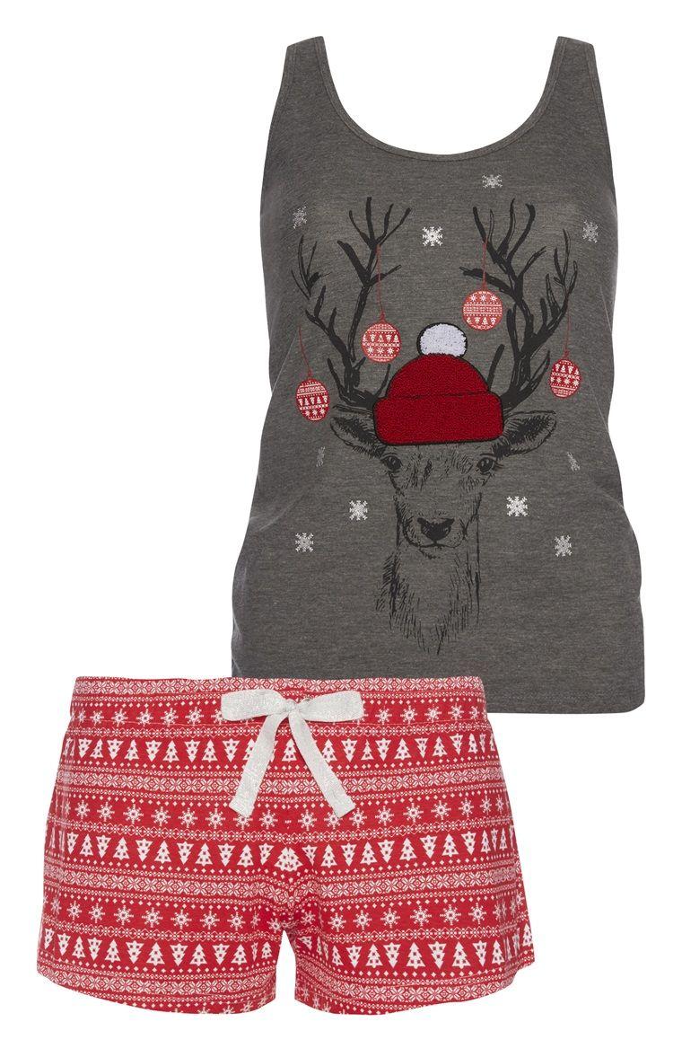 Primark - Kerstpyjama grijs shirt en rode short | Christmas ...