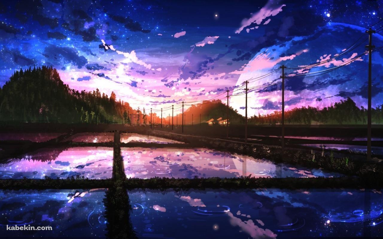 田園 青 夕暮れ(1280 x 800)の壁紙 | 壁紙キングダム pc・デスクトップ