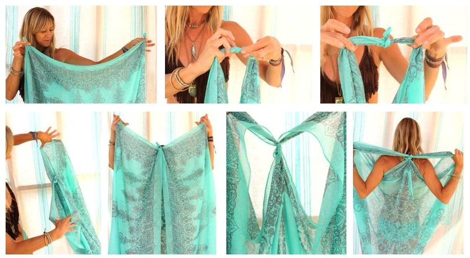 75437d4189 Make the perfect beach cover-up using a scarf you may already have hanging  in your closet. #beachwear #DIY