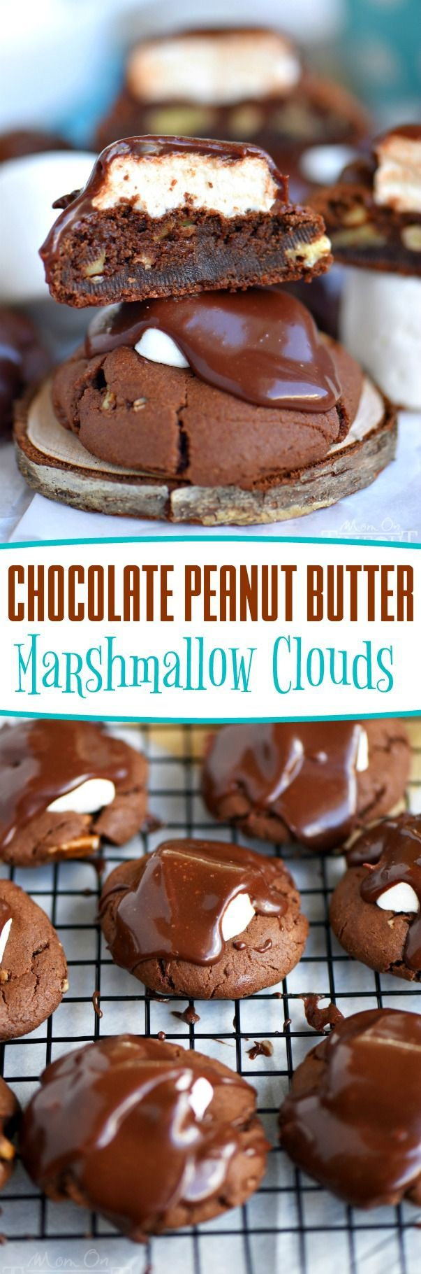 Today is the perfect day to indulge in these Chocolate Peanut Butter Marshmallow Clouds! The most incredible chocolate cookies you've ever had topped with a marshmallow cloud and decadent chocolate frosting! It's impossible to say no to these glorious treats! // Mom On Timeout