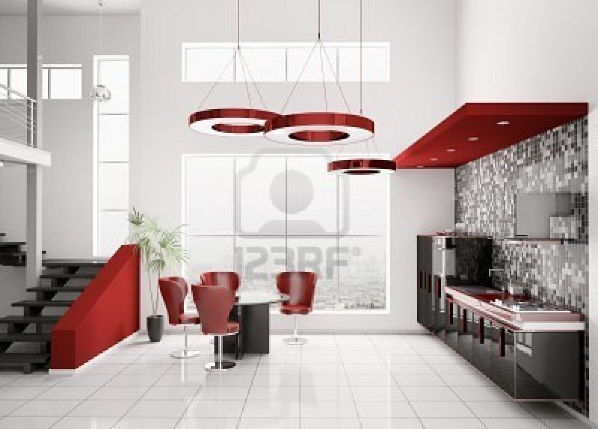 White And Red Kitchen Interior Of Modern Black White Red Kitchen My Dream Kitchen