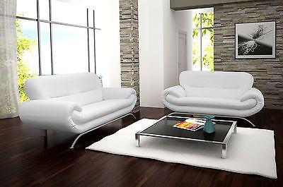 New Nina 3 2 Seater White Faux Leather Sofa Maymun Co Uk