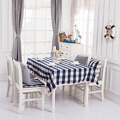 W&p Blue Plaid Lacy Design Jacquard Tablecloths Fabric Tea Enchanting Dining Room Tablecloths Review