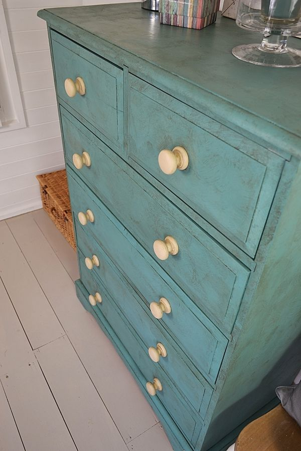 Large Shabby Chic Textured Chest of Drawers artwork As provence and old ochre