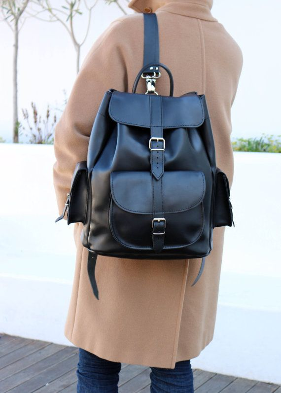 Leather Backpack - EXTRA LARGE Full Grain three pockets leather Rucksack 521c7e7f1d77d