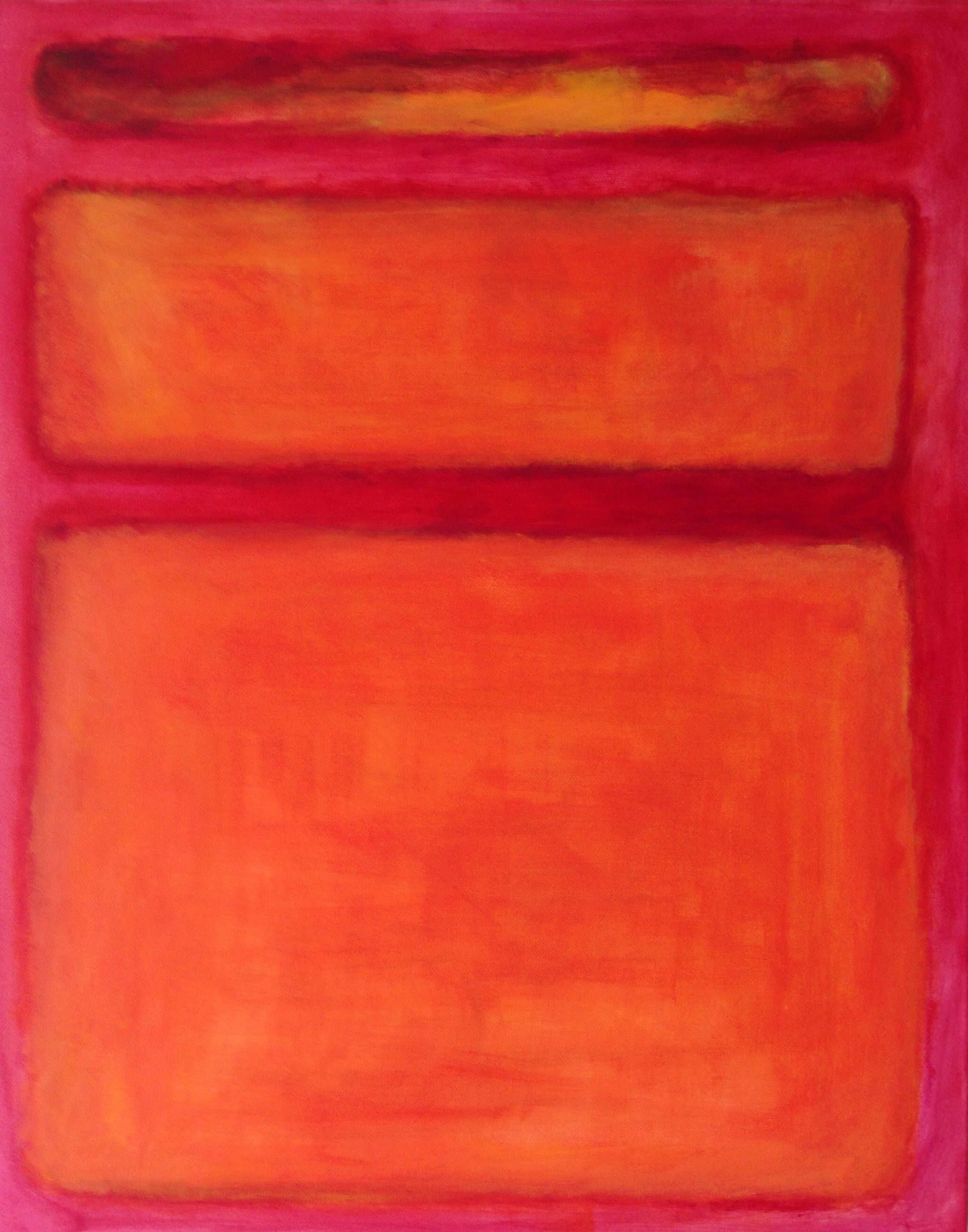 Mark Rothko Orange Red Yellow Hand Painted Reproduction - Art