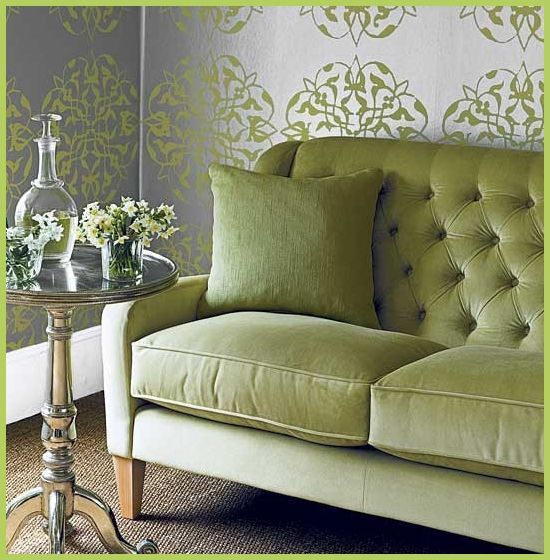green tufted sofa and green medallion silver wallpaper what a great color combination we. Black Bedroom Furniture Sets. Home Design Ideas