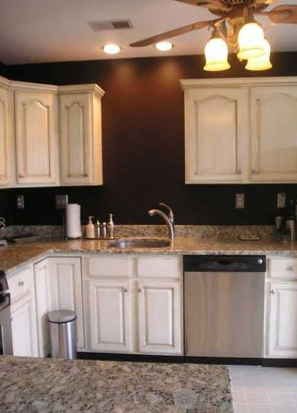 Trendy kitchen colors for walls brown white cabinets 36 ...