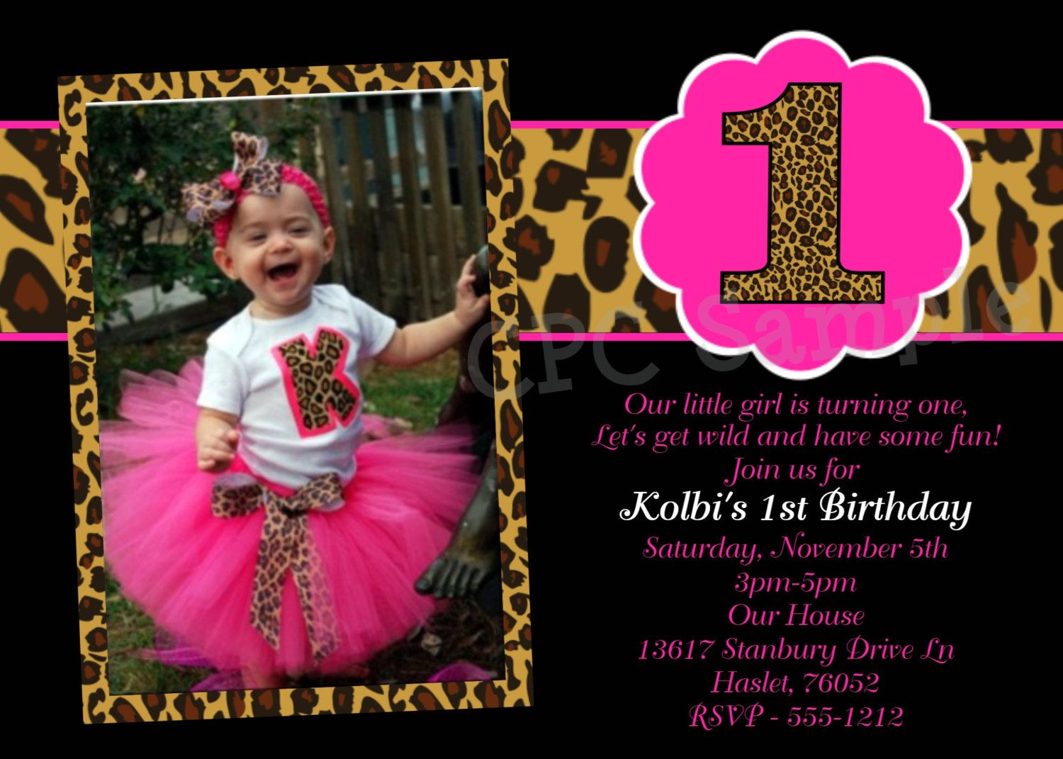 Hot Pink Leopard 1st Birthday Invitation, USE for ANY AGE, Printable ...