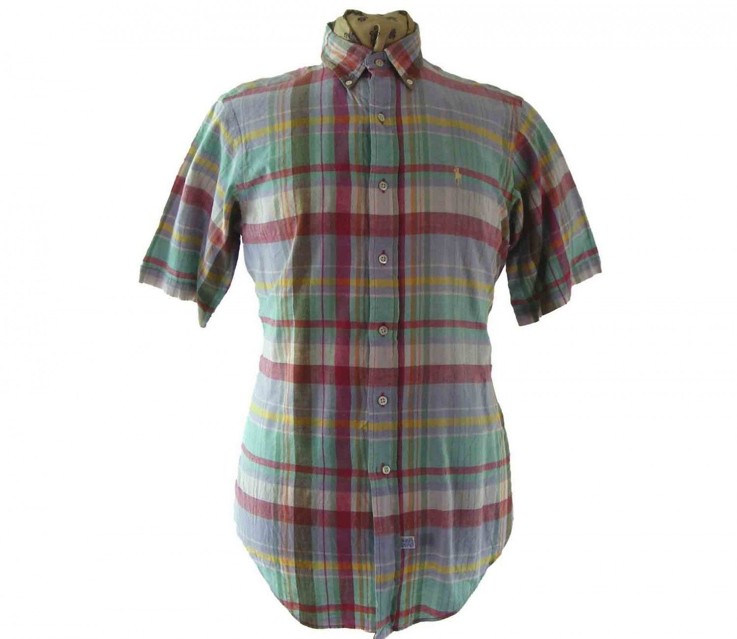 "Ralph Lauren Checked shirt Features a lilac, red, orange, green, white and yellow checked print. #90sshirts #vintagefashion #vintage #retro #vintageclothing #90s #1990s #vintageshirts <link rel=""canonical"" href=""http://www.blue17.co.uk/>"