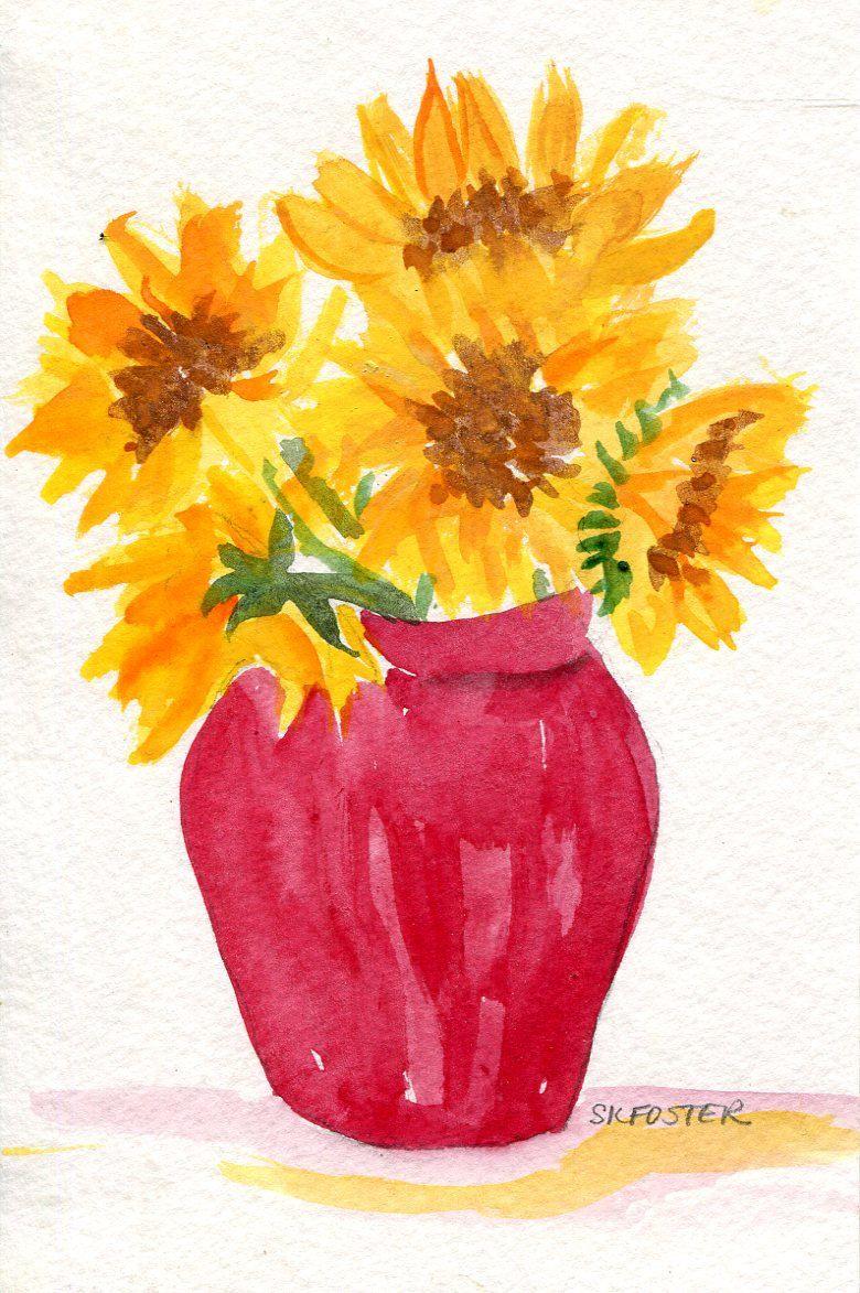 Sunflowers watercolor painting original flowers in blue and white sunflowers watercolor painting original flowers in blue and white vase small floral watercolor art reviewsmspy