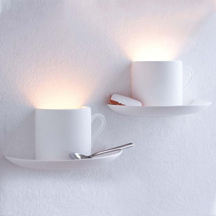 Küchendeko Ideen halbierte kaffeetassen als wandleuchten in der küche inspirations