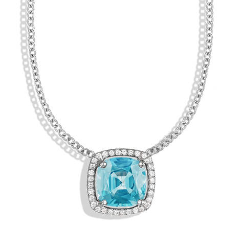Twinkle Twinkle sky blue topaz cushion and diamond pavé frame necklace in white gold by Jane Taylor