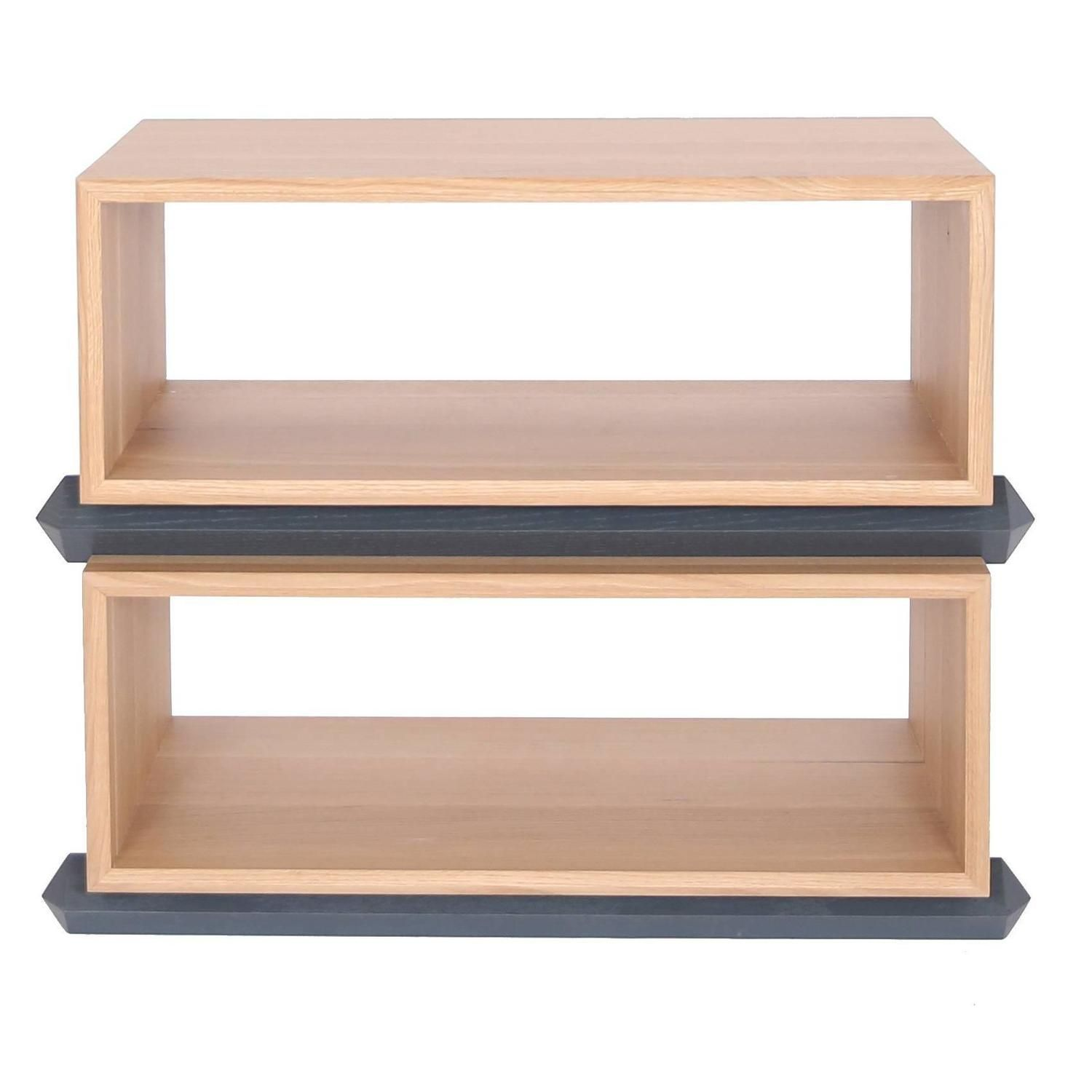 Stack Storage Two Tier Wood Open Shelves