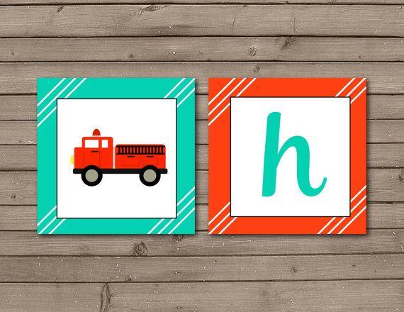 Fire Truck Happy Birthday Banner: INSTANT DOWNLOAD by JoleeStudio