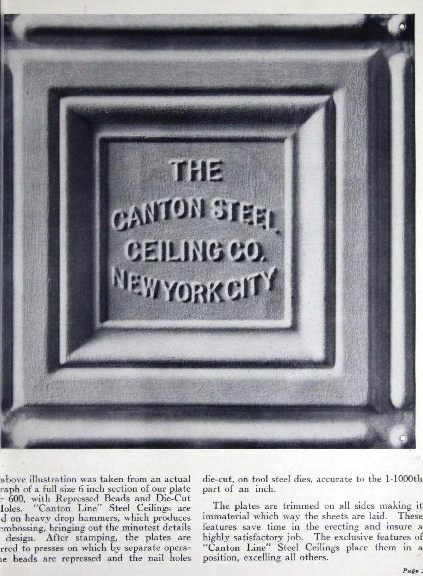 Canton Line Stamped Steel Ceilings Canton Steel Ceiling