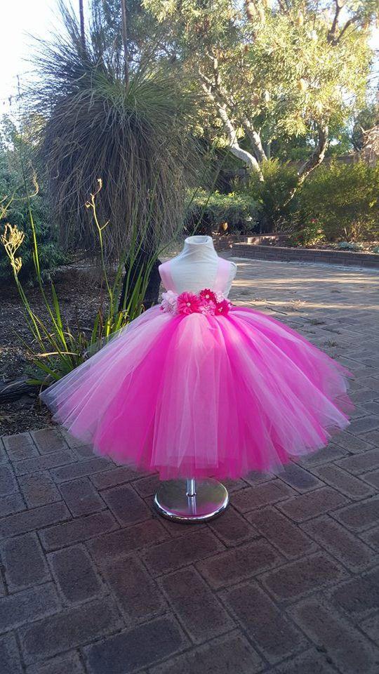 Pink HotPink Tutu Dress Flowergirl dress -Toddler, Baby, Girls ...