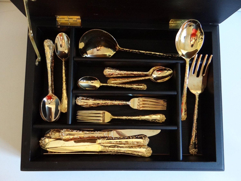 Wm Rogers \u0026 Son \ Enchanted Rose\  Gold Plated Silverware in Wooden Box - 34 & Wm Rogers \u0026 Son \