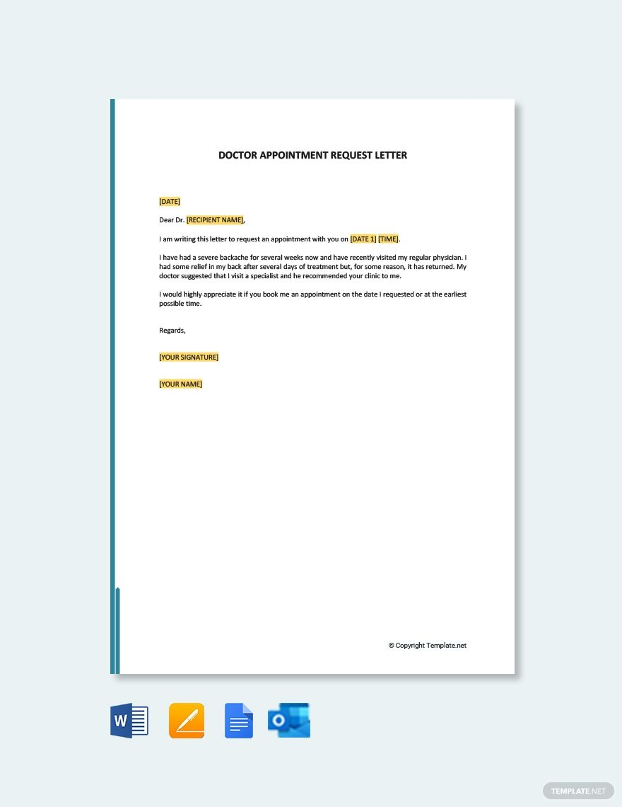 Doctor Appointment Request Letter Template Free Pdf Word Doc Apple Mac Pages Google Docs Outlook Doctor Appointment Letter Templates Free Lettering