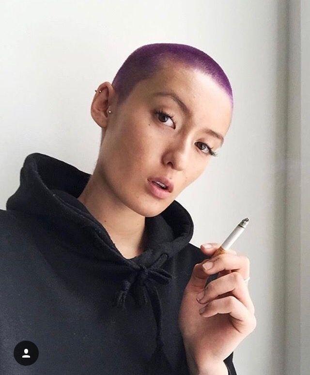 Purple buzz cut hair
