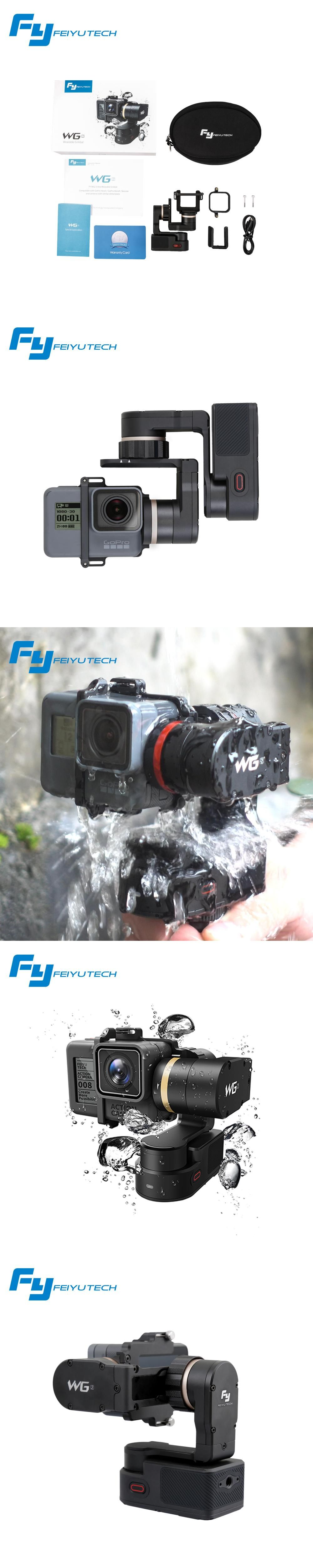 Feiyutech Newest Wg2 Wearable 3 Axis Waterproof Gimbal Stabilizer Gopro Hero Acc Remote 20 For 4 5 Session Yi 4k Sjcam Aee Action Camera Hot
