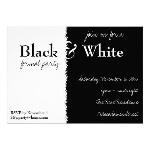 black and white theme party – Black and White Themed Party Invitations