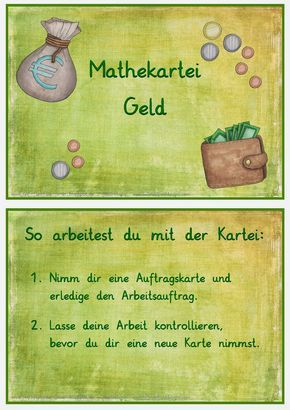 Mathe-Kartei Geld | Schule | Pinterest | School, Math and Classroom ...