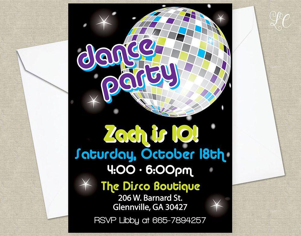 Boys Disco Birthday Party Invitation - Dance Birthday Party ...